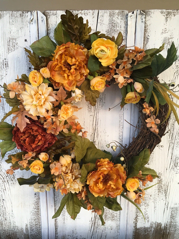 A Fall Yellow Saffron Door Wreath Year Round Wreath Wall Wreath