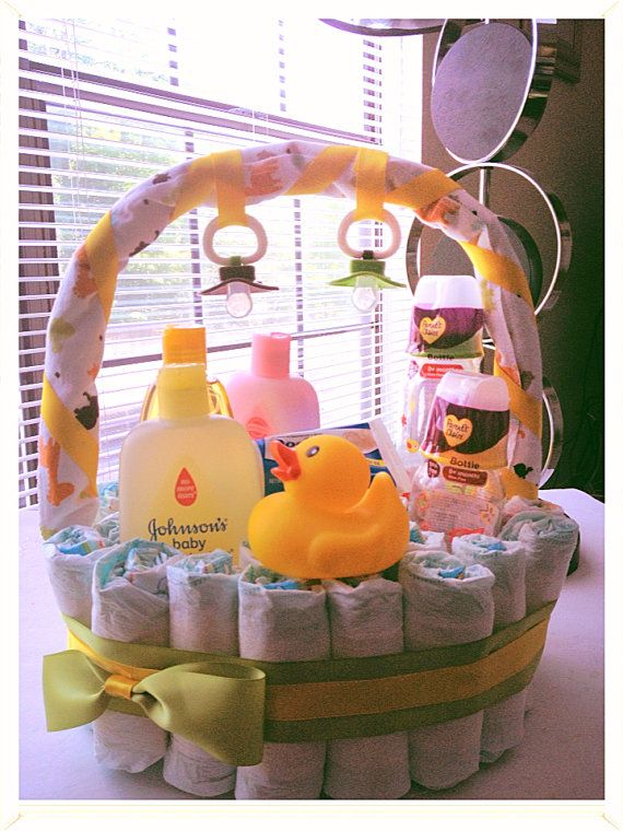 Baby Gift Delivery Ideas : Adorable baby diaper gift basket by lovecouturecandy on