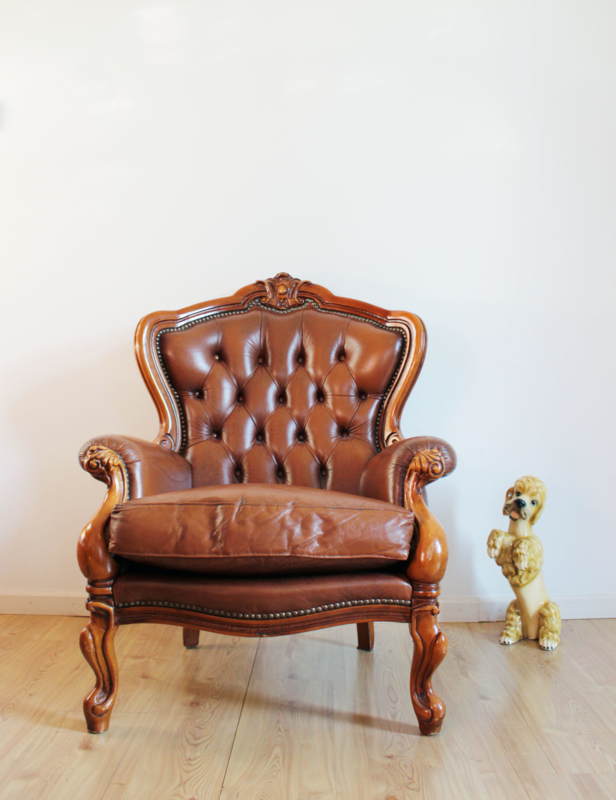 Vintage Barok Bankje.Stoere Vintage Chesterfield Fauteuil Lederen Barok Stoel