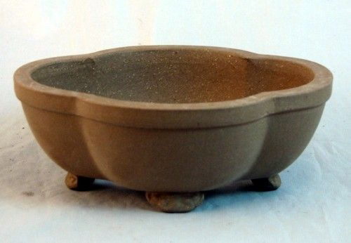 Elegant Ceramic Bonsai Pot Oval Fancy Unglazed 6 1 8 X 5