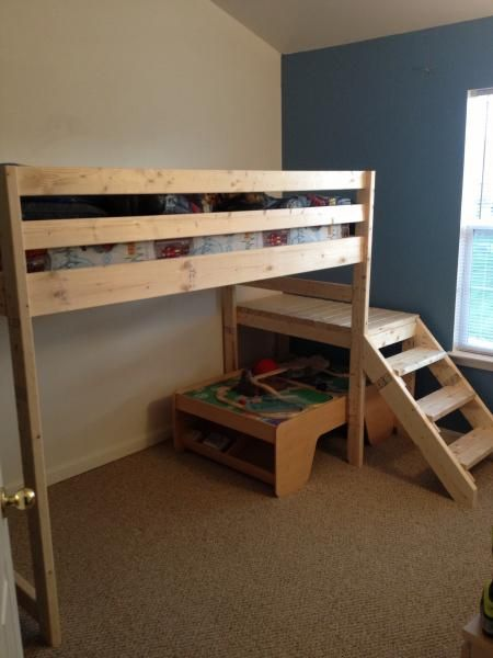 Loft bed with stair | Do It Yourself Home Projects from Ana White. Enough room under for a futon. I will have to do this for my house at college!