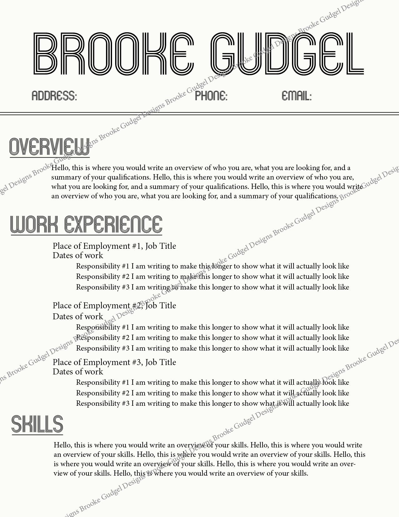 Template For A Resume Retro Resume Contact Brookegudgelgmail #rush #sorority