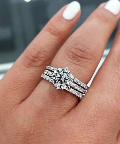 1 50ct Round Moissanite Luxury Engagement 3 Piece Ring Set 14k White Gold Over Ebay Beautiful Wedding Rings Black Wedding Rings Beautiful Wedding Ring Sets