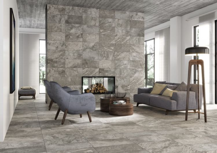 These Marble Look Ceramic Tile Floors And Feature Wall Make A