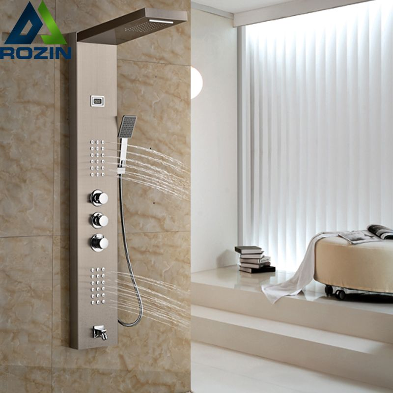 Brushed Nickel Thermostatic Shower Mixer Panel Wall Mount Stainless ...