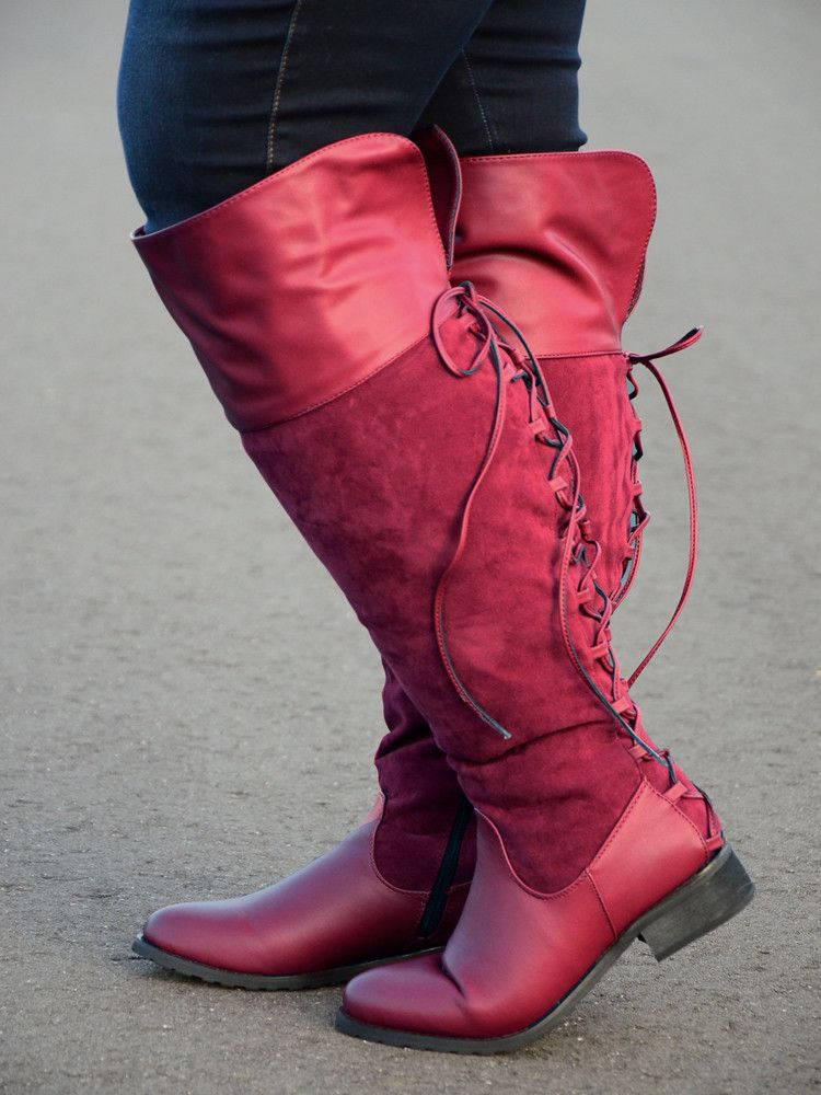 Kristi Knee-high Corset Wide Calf Boot in Burgundy | ShoeGasmRific ...