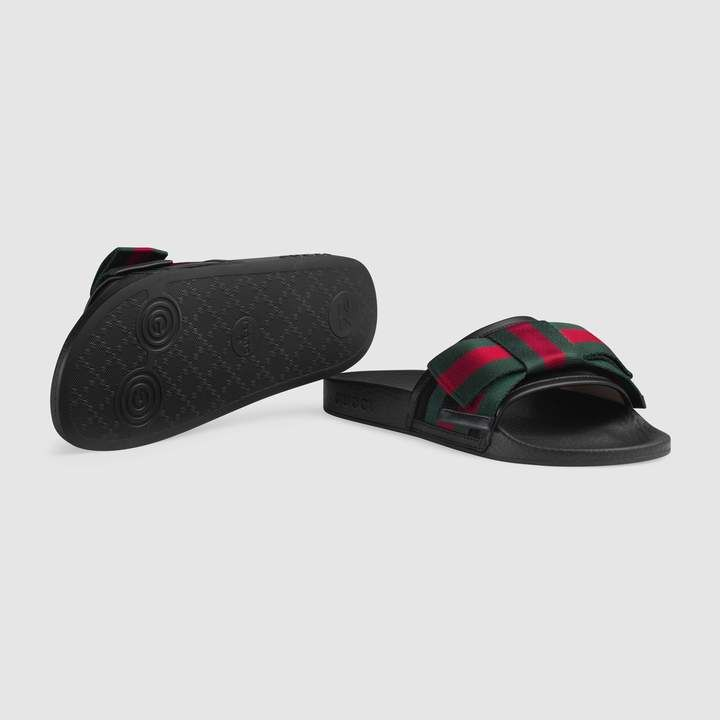 9a4d21db9b8 Gucci Satin slide with Web bow