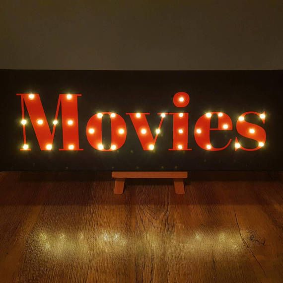 Check Out This Item In My Etsy Shop Listing 584348619 Movie Sign Cinema Light Up