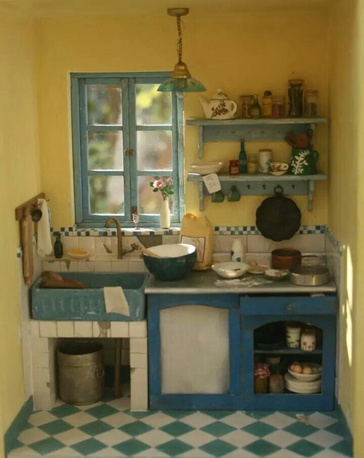 miniature farm kitchen puppenhaus pinterest miniatur puppenstube und k chenm bel. Black Bedroom Furniture Sets. Home Design Ideas