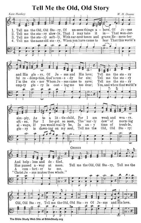 OLD HYMNS | Tell Me the Old, Old Story hymn sheet music | Learn To