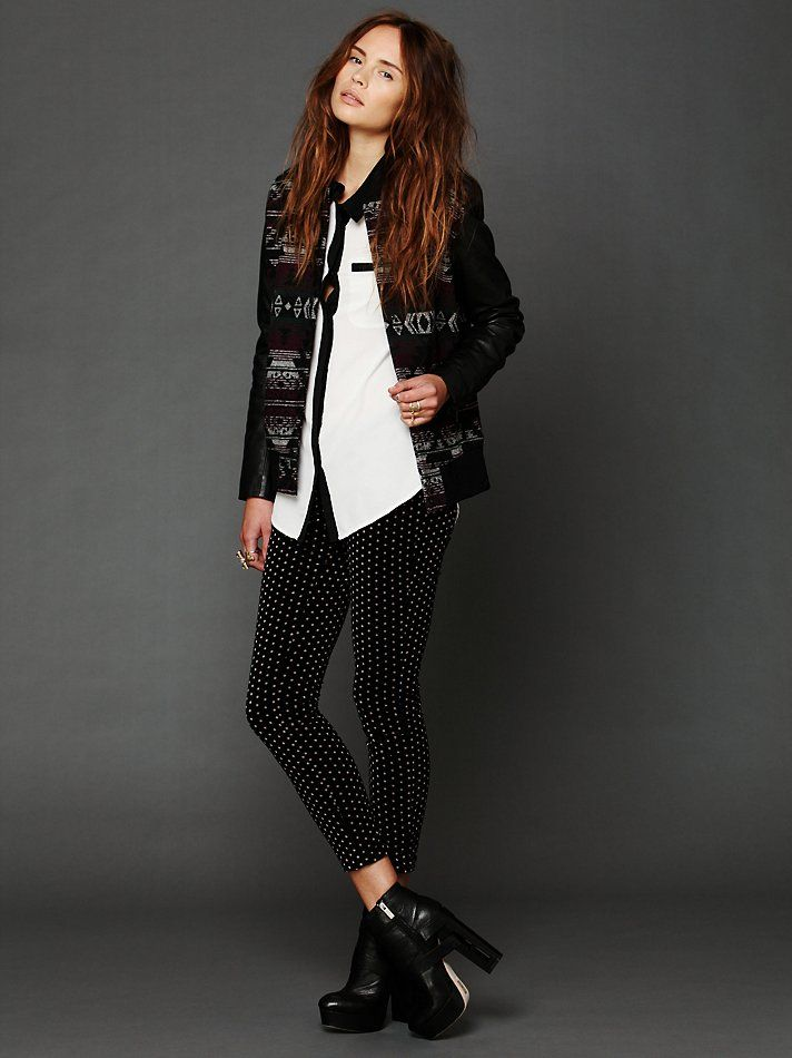 Free People Black Wool Leather Marrakesh Jacket