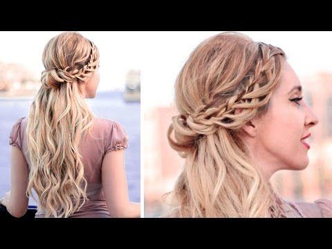 Half Up Half Down Hairstyle With Lace Waterfall Braid For Medium Long Hair Tutorial Medium Hair Styles Medium Length Hair Styles Medium Long Hair