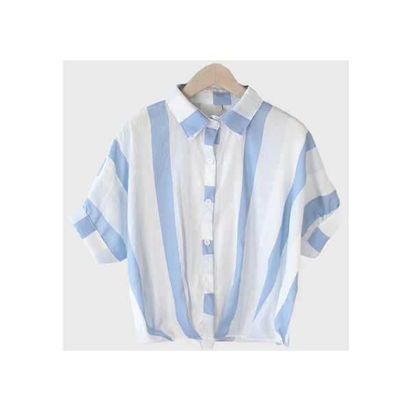 e77cfdc6cf4029 Vertical Striped Dolman Sleeve Blouse Blue (€12) ❤ liked on Polyvore  featuring tops