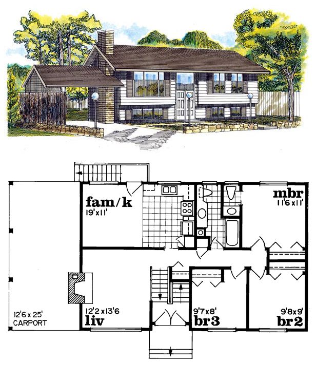Traditional Style House Plan 55140 With 3 Bed 2 Bath 1 Car Garage Saltbox Houses House Plans Cabin Floor Plans Open concept saltbox house plans