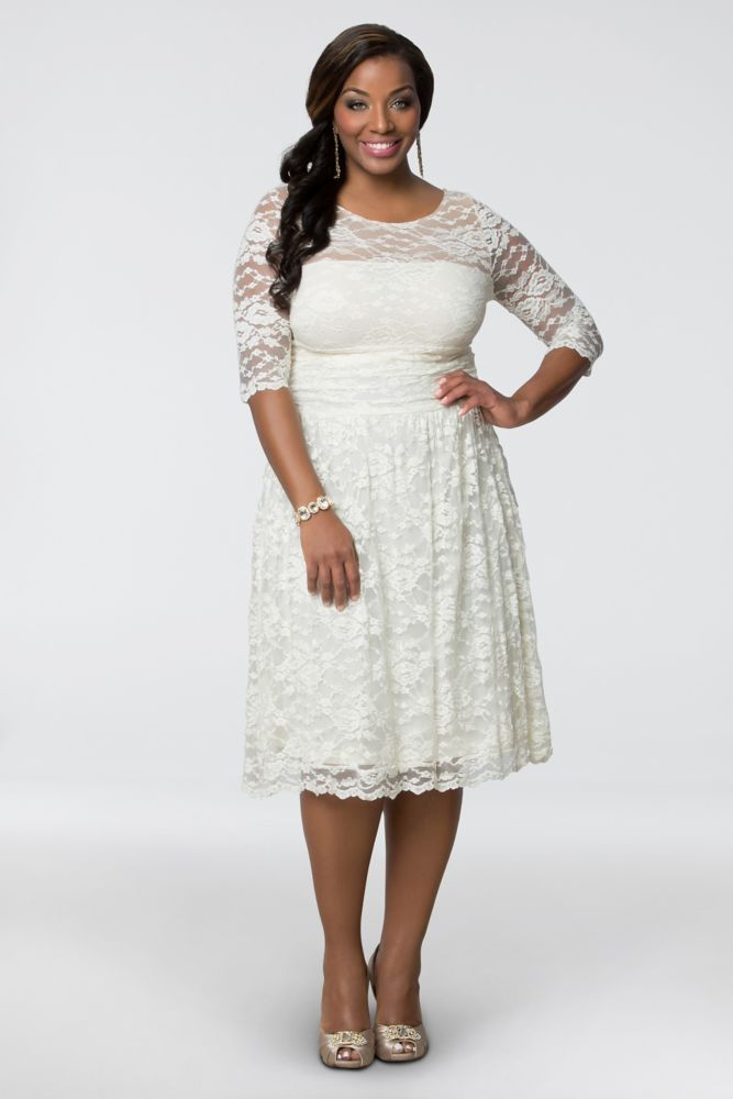 Aurora Lace Plus Size Short Wedding Dress - Ivory, 5X
