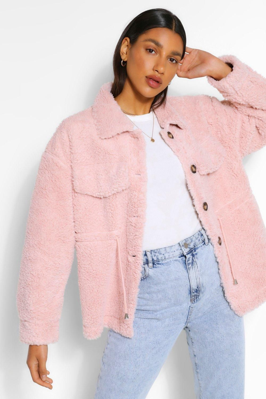 Teddy Faux Fur Shacket Boohoo In 2021 Pink Jacket Outfit Pink Corduroy Jacket Pink Fur Coat [ 1500 x 1000 Pixel ]