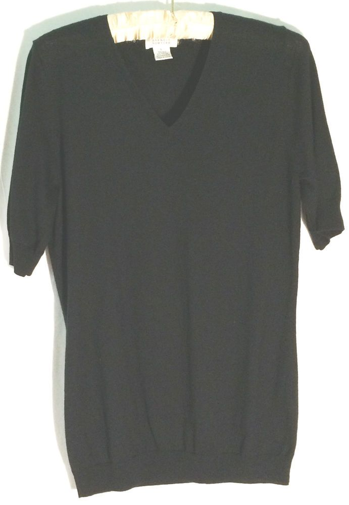 566f542b68bec2 BARNEYS NEW YORK Black Silk-Cotton-Cashmere V-Neck Luxe Sweater/Top - Large  - L #BarneysNewYork #VNeck #barneys #top #sweater #silk #knit #cotton # cashmere ...