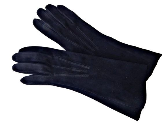 Black Suede Gloves by Superb Luxurido size 6 Length 11 inches