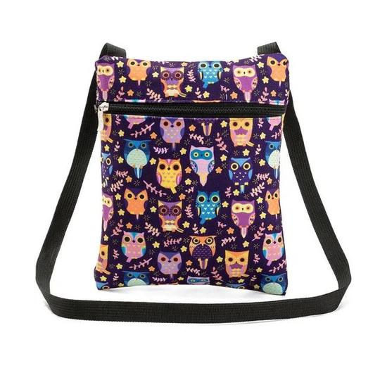 Womens Canvas Owl Print Satchel Cross Body Messenger Shoulder Handbag Purse Bag