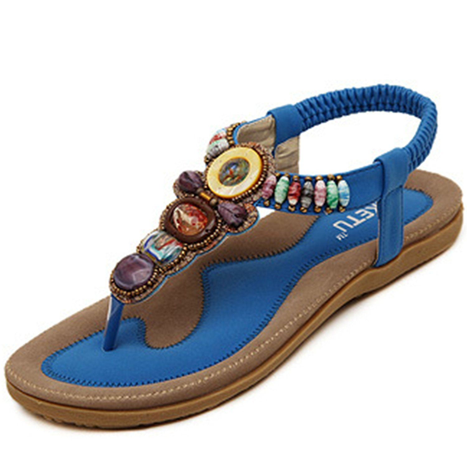 30dd55a499318 PAERLAN Women s Fashion Summer Bohemian Beads Flip Flops Sandals Beach  Shoes -- You can get