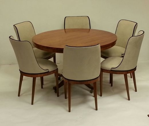 Marvelous Harry And Lou Epstein A Superb Circular Art Deco Dining Table And Six Chairs,  Beautiful Rosewood Table With Skirt And Beaded Edge, Rosewood Framed Chairs  ...