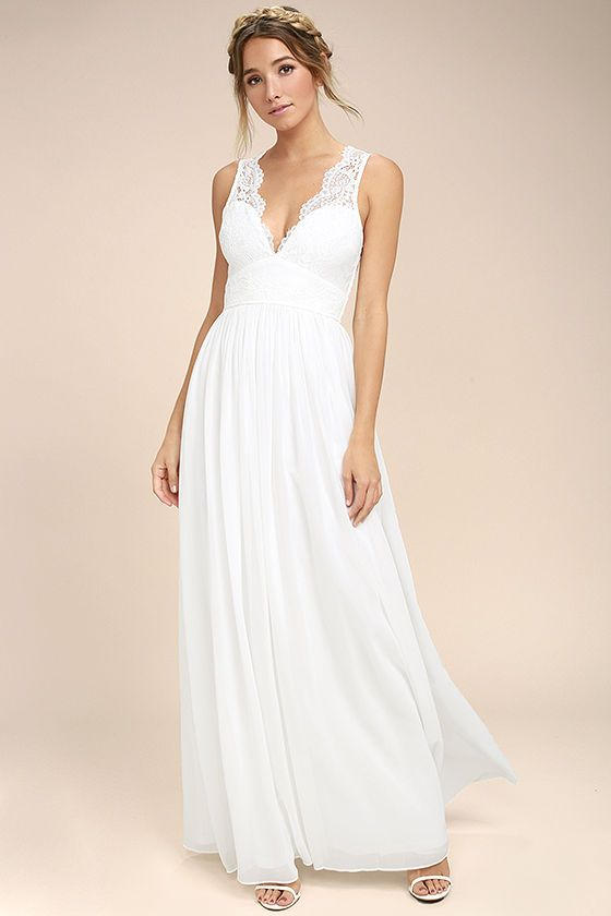df2d86e59948 The Destined to Dream White Lace Maxi Dress is here to make all your  romantic fantasies come true! Elegant lace bodice tops a set-in waist and  cascading ...