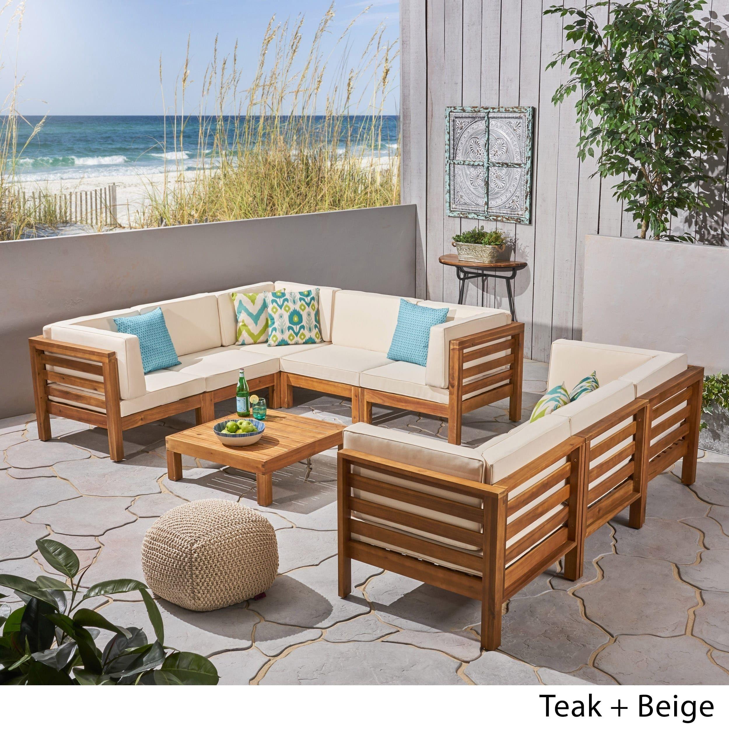 Oana Outdoor 9 Piece Acacia Wood Sectional Sofa Set With Coffee