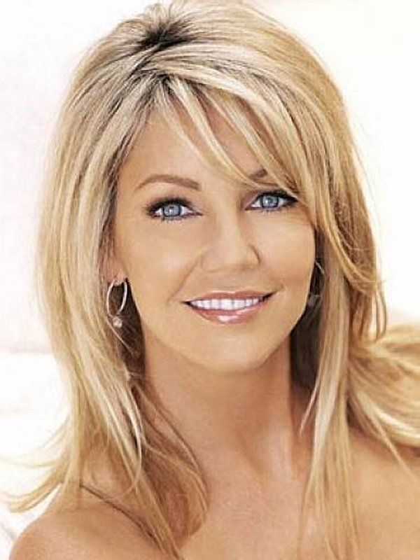 Medium Blonde Hairstyles With Side Bangs And Layers Hair