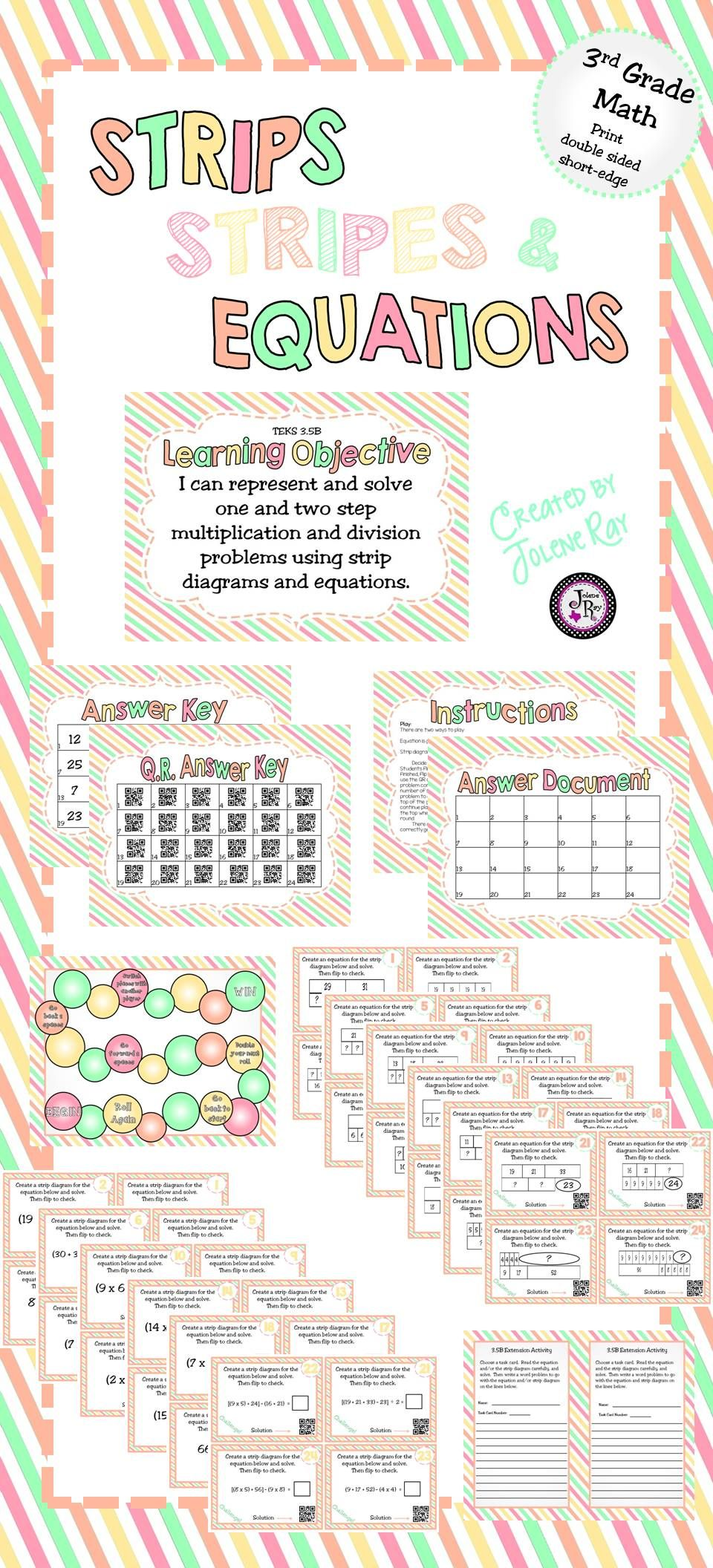 your 3rd grade students will love this flip and play game and will learn how strip diagrams and equations relate the task cards vary in difficulty  [ 960 x 2112 Pixel ]