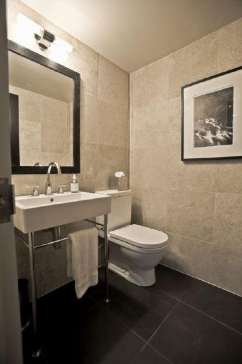 modern powder room half bath european toilet marble tile wall ... for Modern Powder Room Tile  110yll