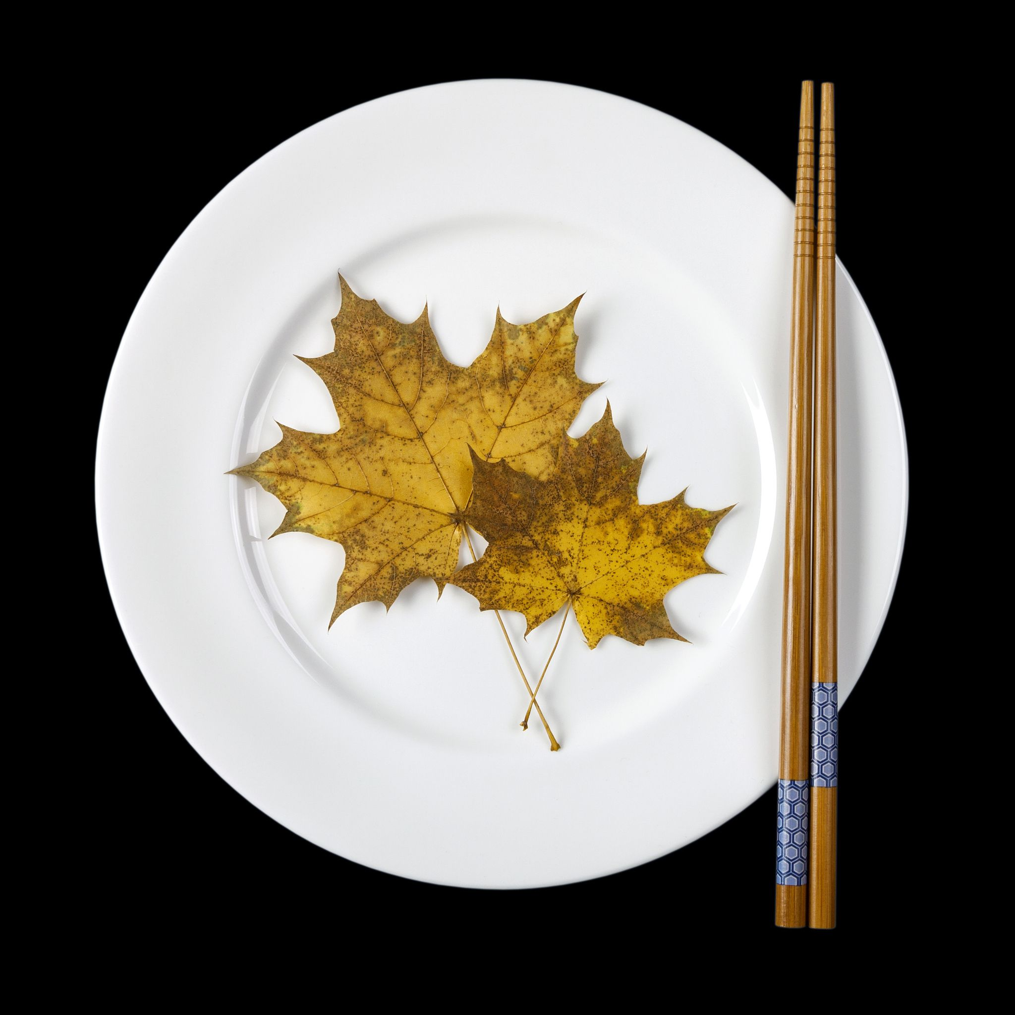 Plate with chopsticks and maple leaves - White plate with chopsticks and two maple leave isolated on black background