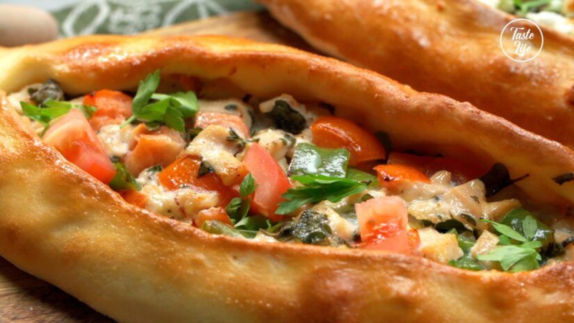 Turkish Pizza With 2 Types Of Fillings Taste Show Recipe Turkish Pizza Cooking Food