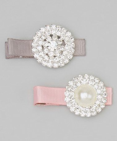 Gray & Pink Rhinestone Circles Clip Set by Charlotte Rose Couture #zulily #zulilyfinds