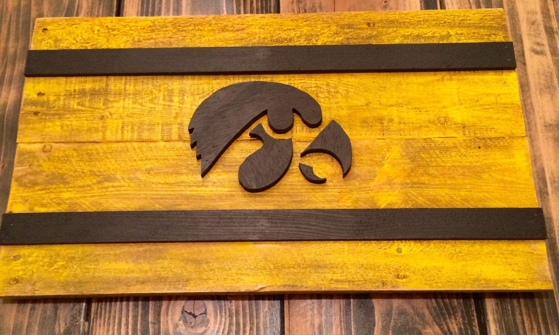 Iowa Hawkeye Weathered 3D Flag - Recycled, Pallet Wood, Vintage ...