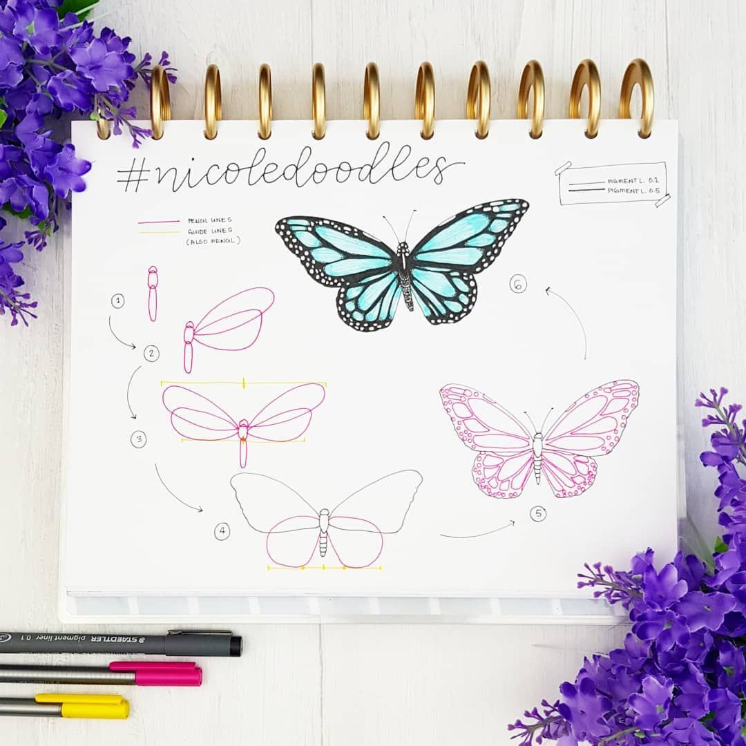 "Nicole on Instagram: ""Morning guys! What are your plans for the weekend? � Maybe you want to doodle a beautiful butterfly? �� . Remember to use #nicoledoodles…"""