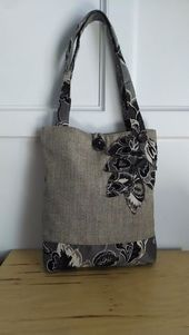 Photo of black tote bag, brown purse, floral handbag, travel tote, book bag, handmade tot…