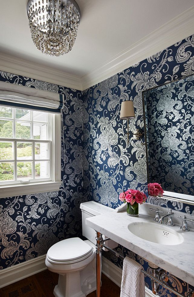 Navy Blue And Silver Bathroom: Powder Room Wallpaper. Powder Room With Navy Wallpaper