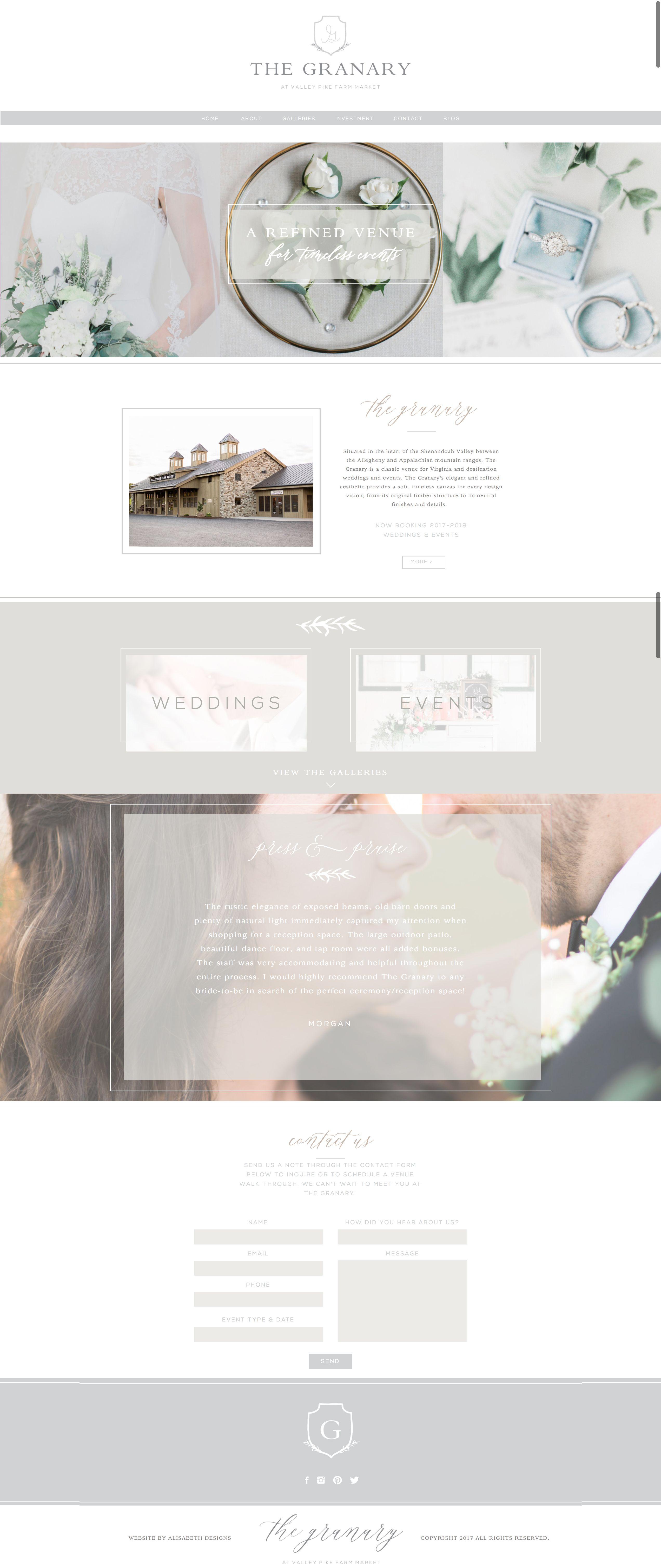 The Granary Website By Alisabeth Designs Wedding Venue Branding Ethereal Feminine Feminine Web Design Feminine Website Design Wedding Website Design