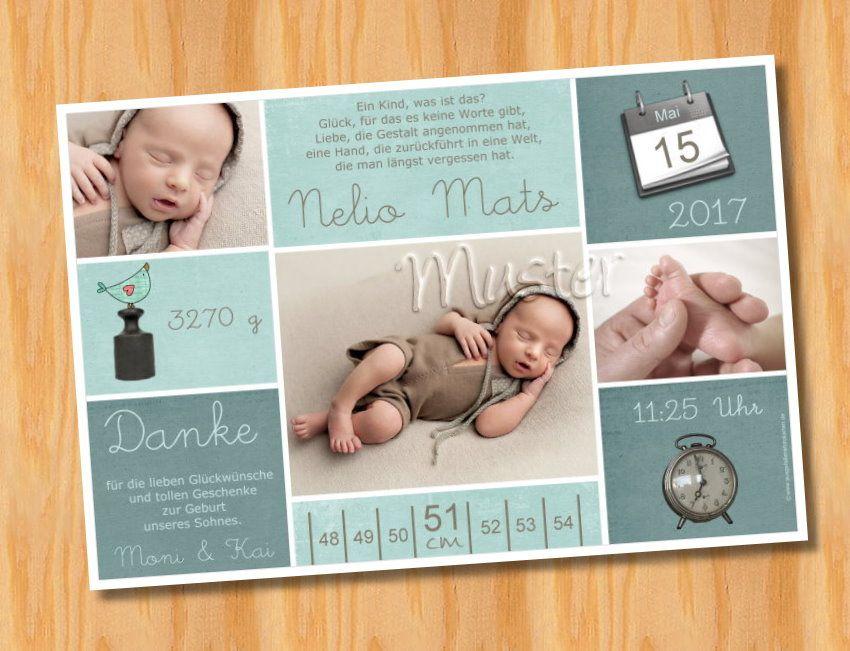 Ausgefallene Dankeskarten Baby Geburt 221