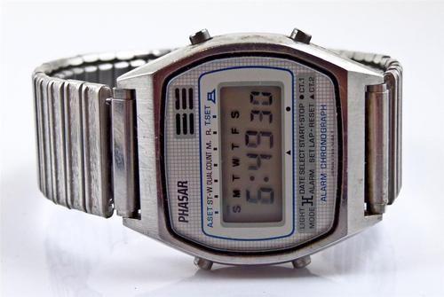 804dc219dfd7 Vintage Sears Roebuck Phasar Digital Alarm Chronograph Wristwatch Y759 5180