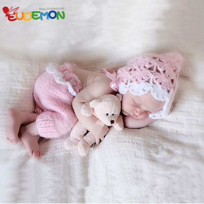 Newborn baby girls crochet photography props infant girls hat pants pics outfits photo shooting fotografia accessories near me