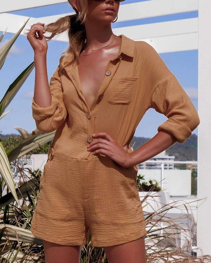 Photo of Pocket Button Linen Casual Jumpsuit