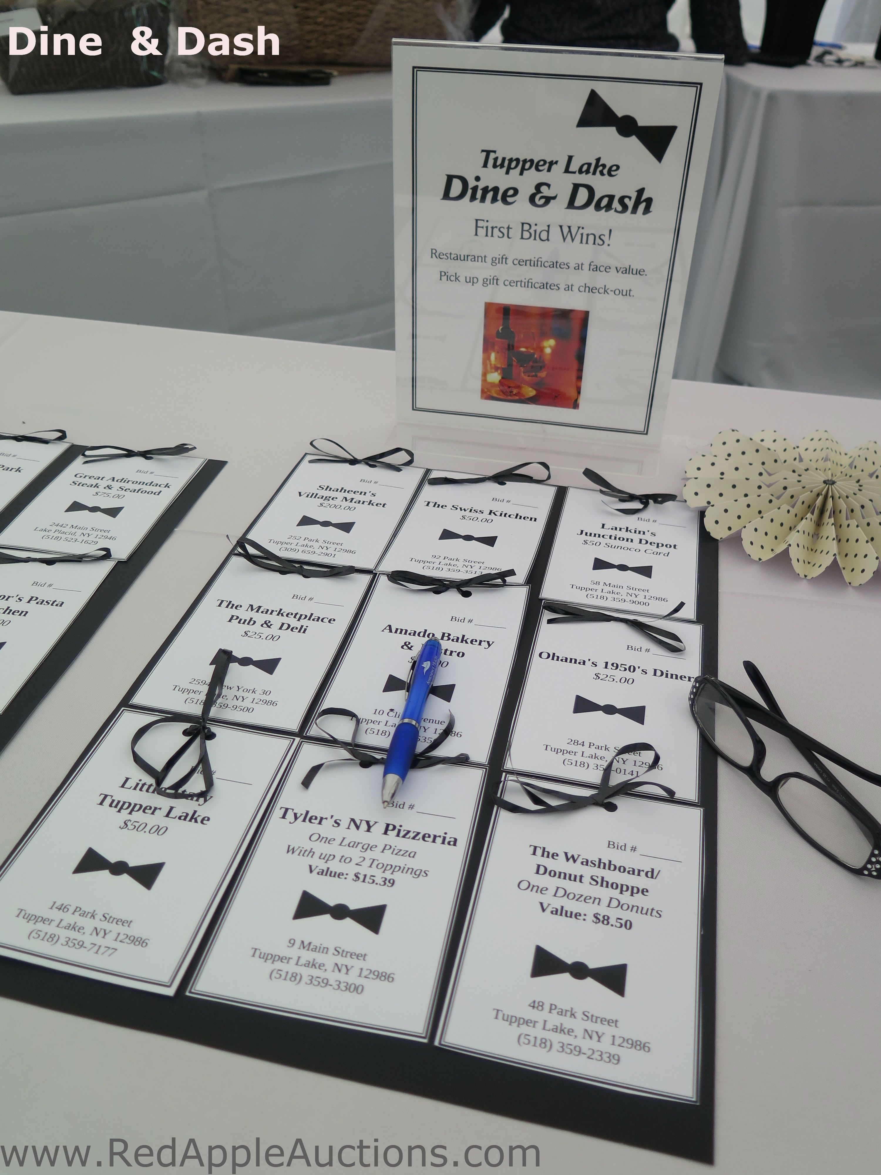 A Dine and Dash activity in the silent auction -- buy a gift card ...