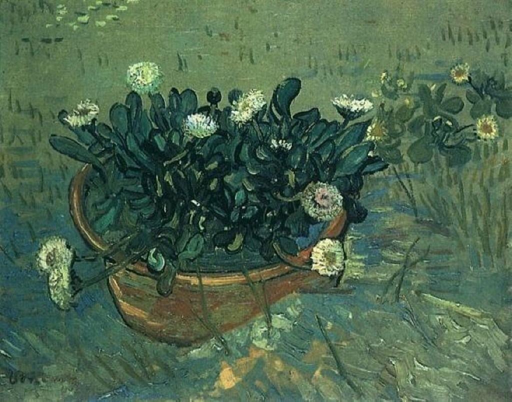 "vincentvangogh-art:  "" Still Life Bowl with Daisies, 1888  Vincent van Gogh  """