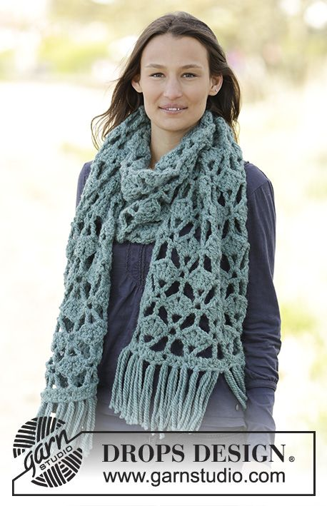 New pattern online! #Crochet DROPS scarf with fan pattern and ...