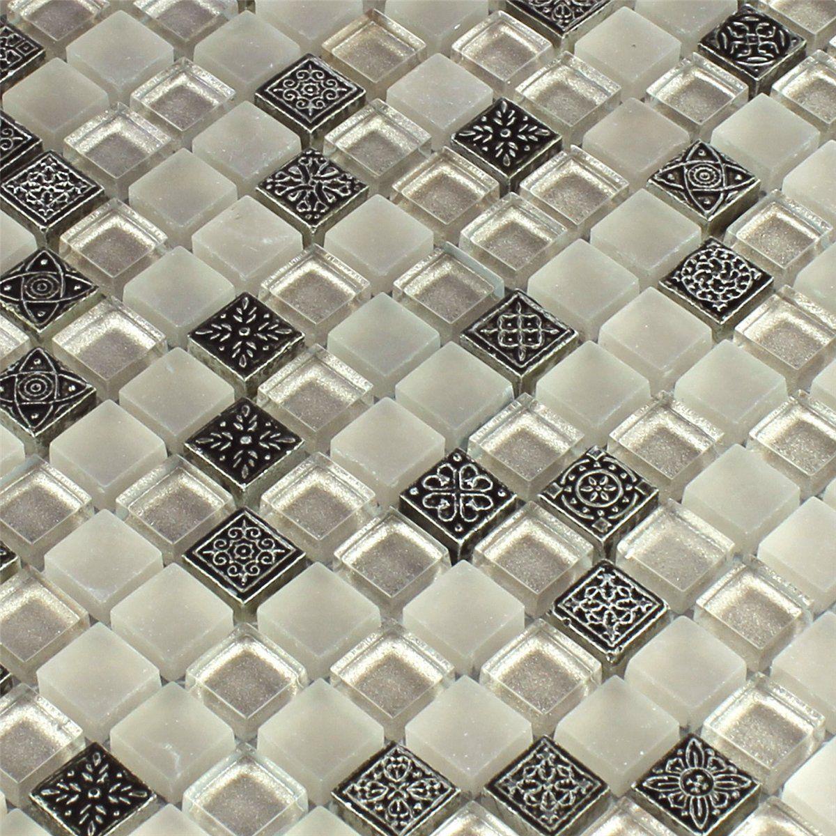 Mosaikfliese Glas Naturstein Ornament Champagne Ebay