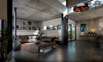 Industrial Style Open Living Interior With Concrete Wall Design And Natural  Wooden Seating Log.