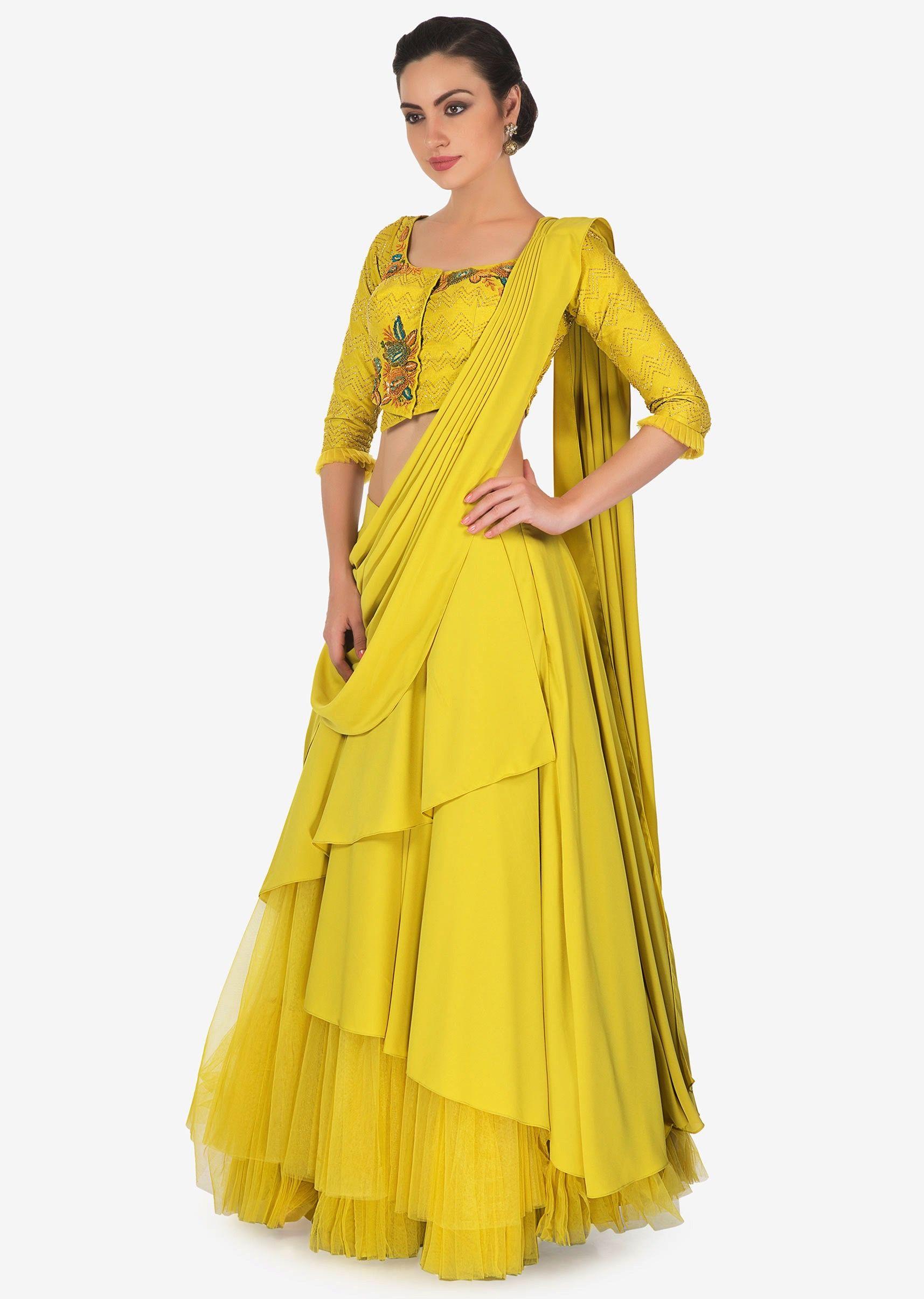954c84ddaf7e4d Corn mustard multi layer lehenga with raw silk blouse and pre stitch  dupatta only on Kalki