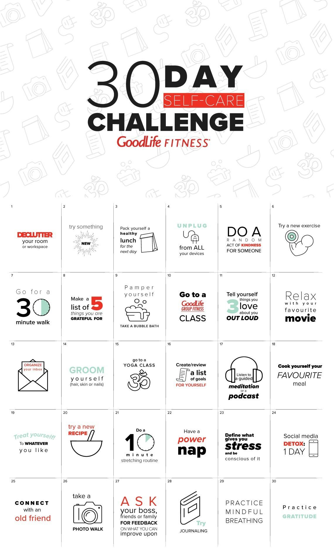 30day selfcare challenge The GoodLife Fitness Blog in