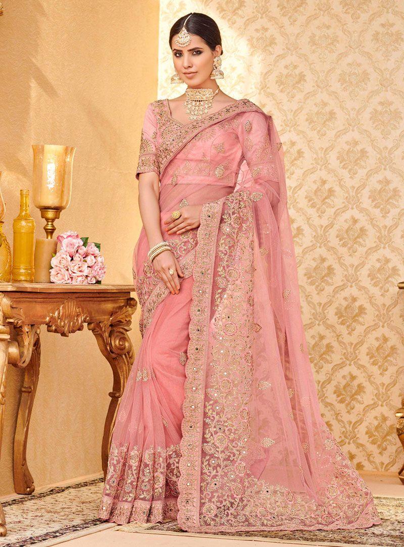 cb22192bb0 Pink Net Engagement Wear Saree 127051 | Net Saree | Saree, Party ...